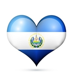 El Salvador Heart flag icon vector image