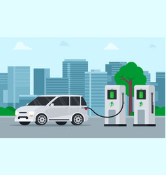 Electric car charging its battery vector