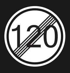 End maximum speed limit 120 sign flat icon vector