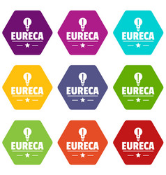 Eureka bulb icons set 9 vector