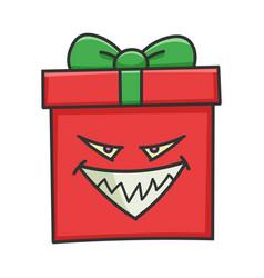 Evil grin present christmas gift box cartoon vector