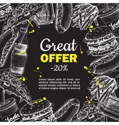 Fast food hand drawn special offer on vector
