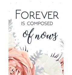 Floral design card peach garden rose white peony vector