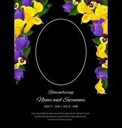 Funeral card template condolence frame vector