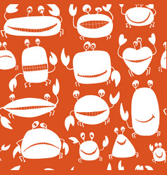 funny friends crabs seamless pattern for your vector image