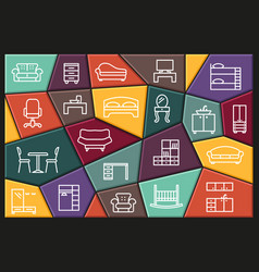 furniture icons set line colored symbols vector image