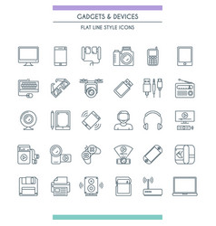 Gadget thin line icon set vector