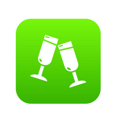 glasses champagne icon green vector image