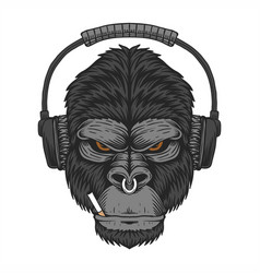 gorilla headphone cigar vector image