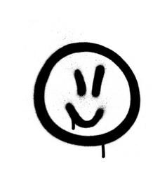 Graffiti jofull emoji sprayed in black on white vector