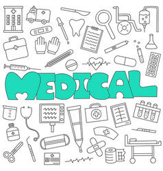 hand drawn doodle medical and healthcare set vector image