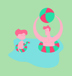 Happy family on lifebuoy vacation together vector