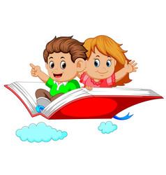 Happy kids flying on big open book vector
