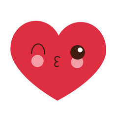 Heart flirting kawaii cartoon vector
