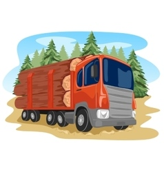 heavy loaded logging truck in forest vector image