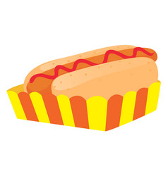 hot dog in paper tray vector image