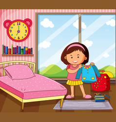 Little girl getting dress in bedroom vector