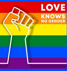 love knows no gender - lgbt typography design vector image