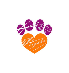 Love pet dog foot logo vector