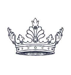 luxury crown hand drawn vector image