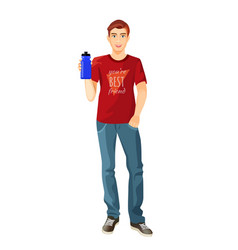 Man in t-shirt and jeans with plastic flask of vector