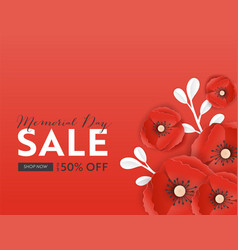 memorial day sale banner with paper cut poppy vector image