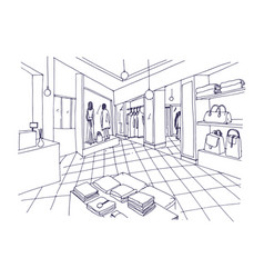 Monochrome freehand sketch of clothing showroom vector