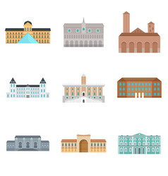 museum day italy palace icons set flat style vector image