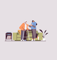 Nurse or volunteer supporting elderly man vector