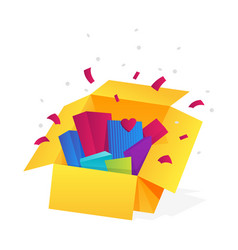 Opened gift box surprise celebration event vector