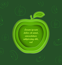 paper cut apple and outlined apples vector image