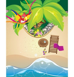 Parrot and beach vector