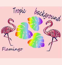 pink flamingos and tropical leaves - ideas for sti vector image
