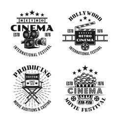 Retro cinema set four black emblems vector