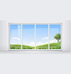 Room with panoramic window vector