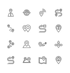 route - flat line icons vector image