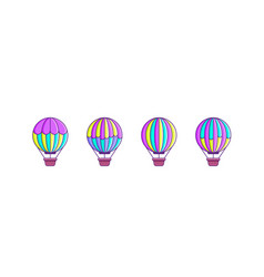 set air balloon icons vector image