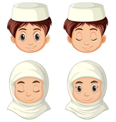 set different face arab muslim in vector image