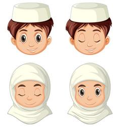 Set different face arab muslim vector