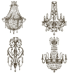 set four chandelier drawings vector image