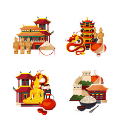 Set of flat style china elements and sights vector