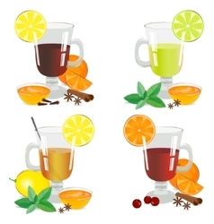 Set of isolated hot drinks vector image