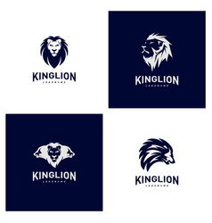 set of lions logo design concept king lions logo vector image