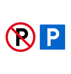 set parking signs and icons permitted and vector image