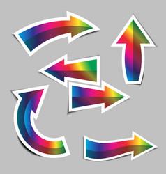 set rainbow arrow stickers with shadow vector image