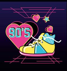 Shoe tennis with hearts of nineties retro vector