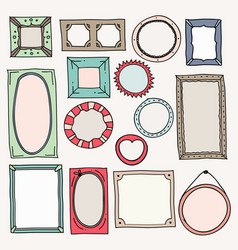 sketch color frames vintage photo frame hand vector image