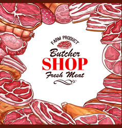 sketch meat sausages butcher products icons vector image