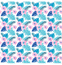 summer seamless pattern with flat flowers vector image