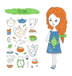 Tea time with image of girl vector image
